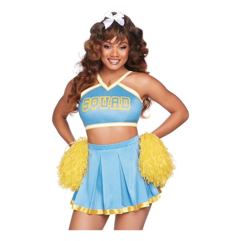 Cheerleader Ljusblå Deluxe Maskeraddräkt - X-Small