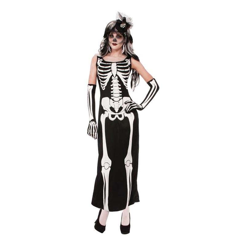 Skelettklänning Lång Maskeraddräkt - One size
