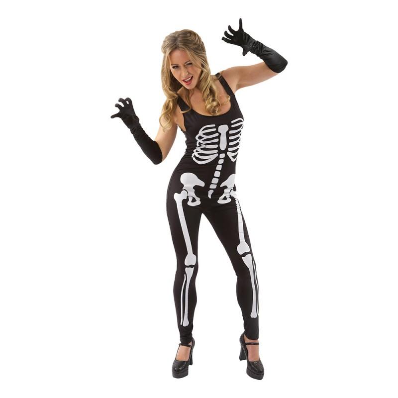Svart Skelett Jumpsuit Maskeraddräkt - Large