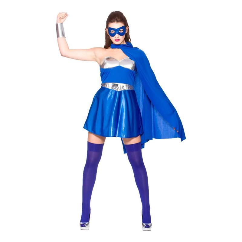 Superhjältinna Blå Maskeraddräkt - Large