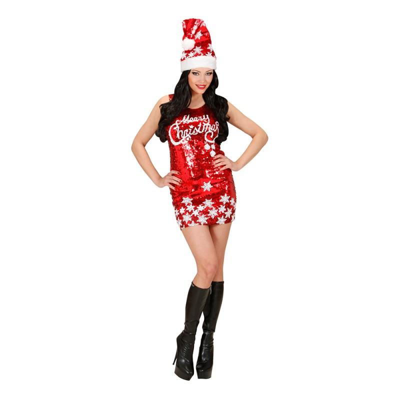 Glitterklänning Merry Christmas Maskeraddräkt - Small
