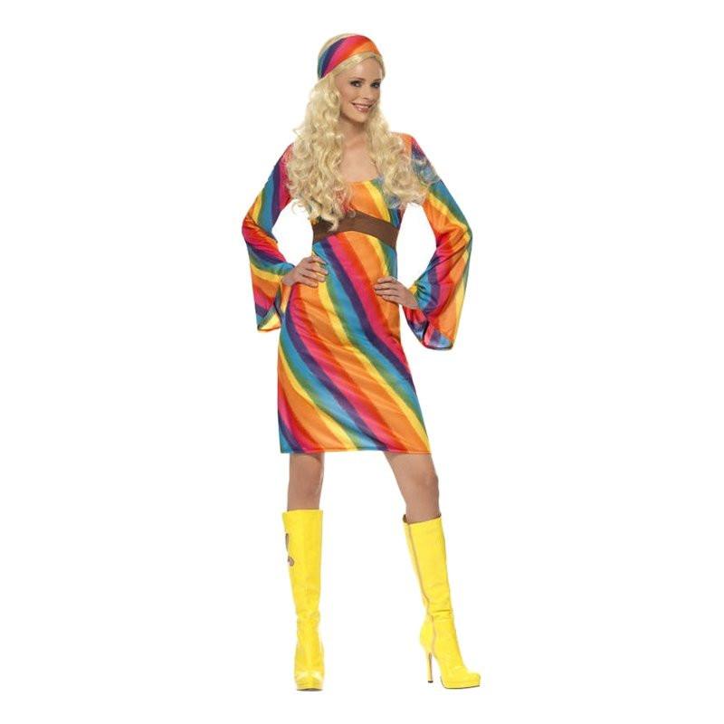 Regnbågs Hippie Maskeraddräkt - X-Large