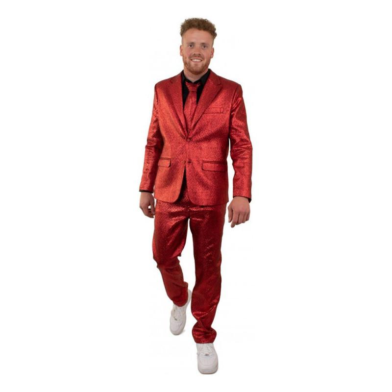 Kostym Röd Metallic Herr - 62