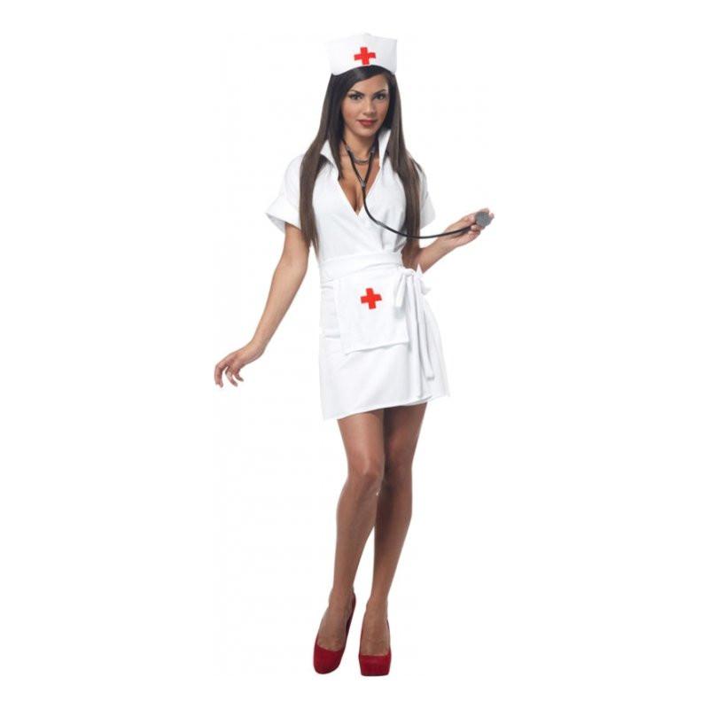 Sjuksköterska Vit Maskeraddräkt - X-Large