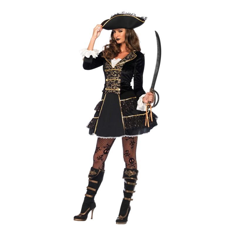 Pirat Kapten Dam Deluxe Maskeraddräkt - Medium