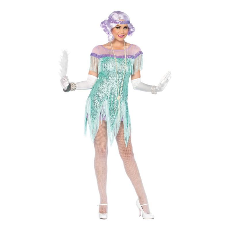 20-tals Foxtrotklänning Havsblå Deluxe Maskeraddräkt - Medium
