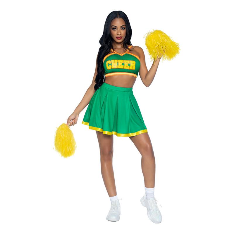 Cheerleader Grön Deluxe Maskeraddräkt - X-Small