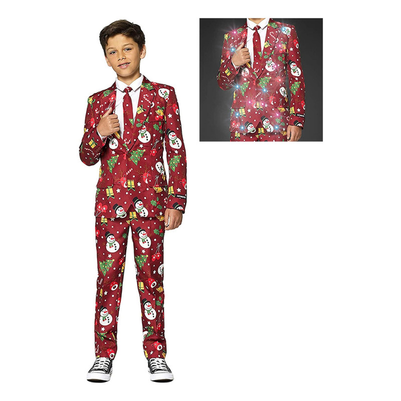 Suitmeister Boys Christmas Red Icons Light Up Kostym - X-Large
