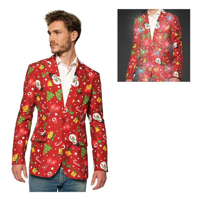 Suitmeister Christmas Red Icons Light Up Kavaj Herr - XX-Large