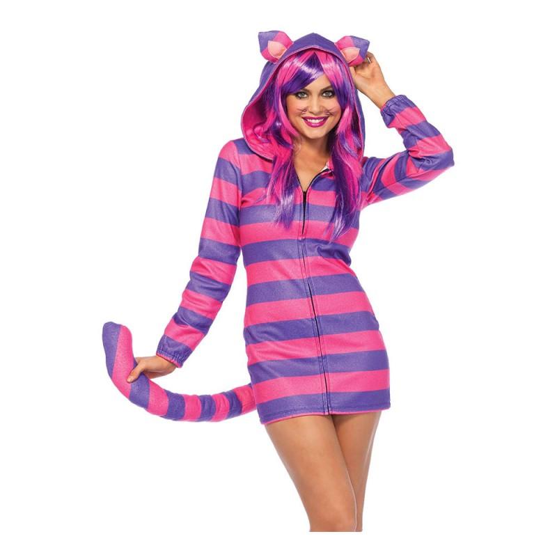 Cheshire Katt Klänning Deluxe Maskeraddräkt - Small