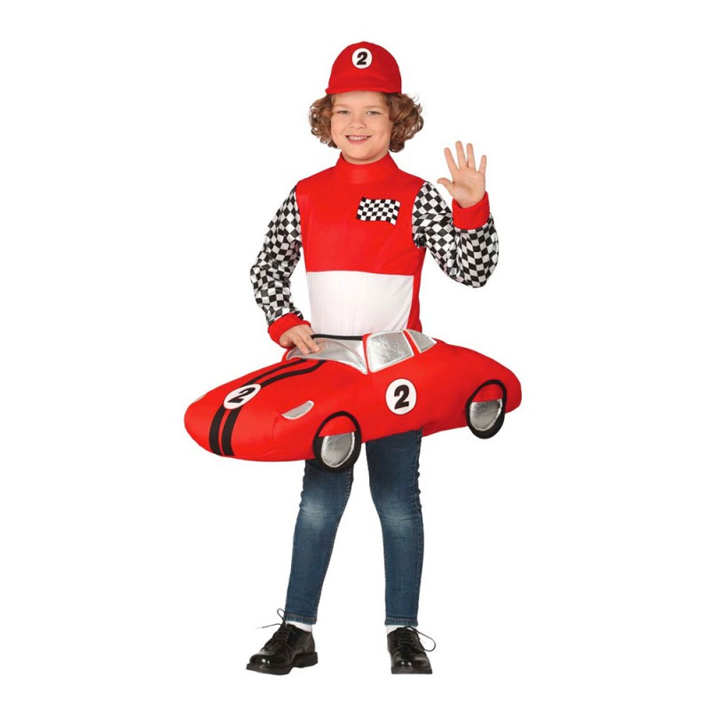 F1-förare med Bil Barn Maskeraddräkt - Medium