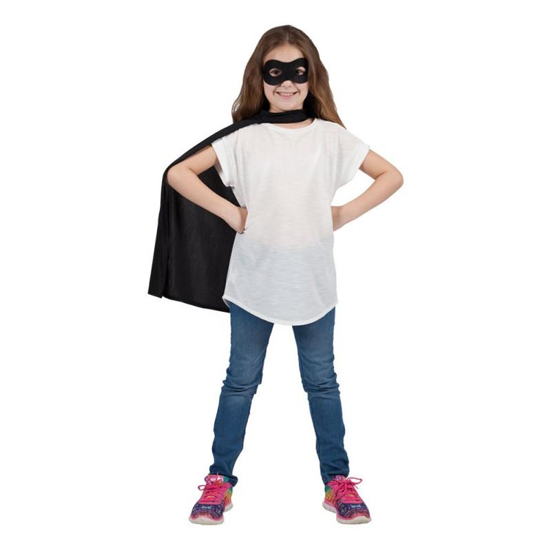 Superhjälte Cape med Mask Svart Barn - One size