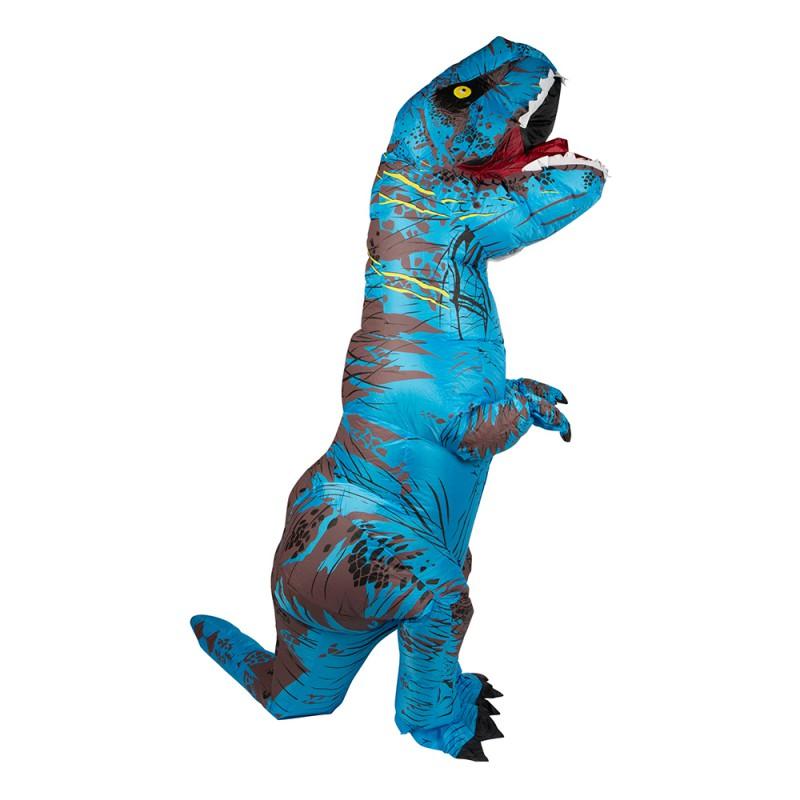 Uppblåsbar T-Rex Blå Maskeraddräkt - One size