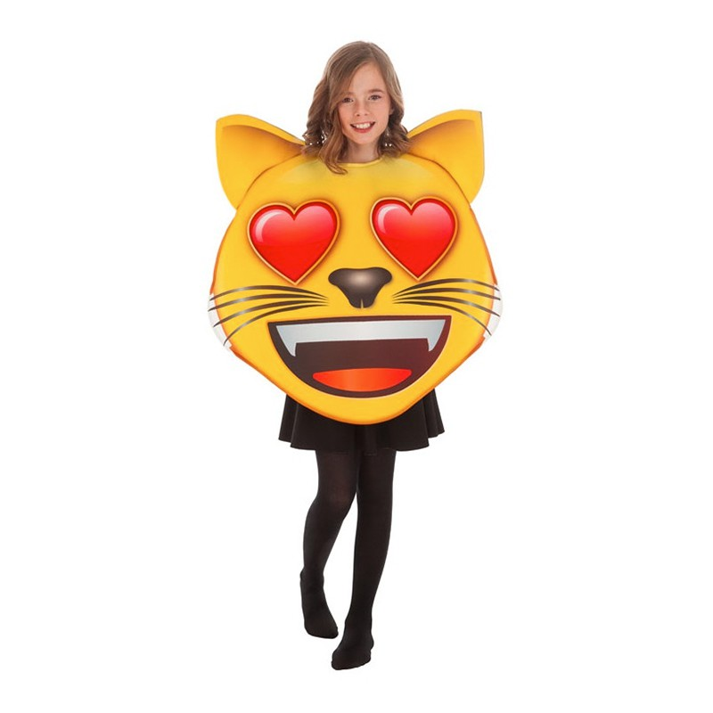 Emoji Cat Heart Barn Maskeraddräkt - One size