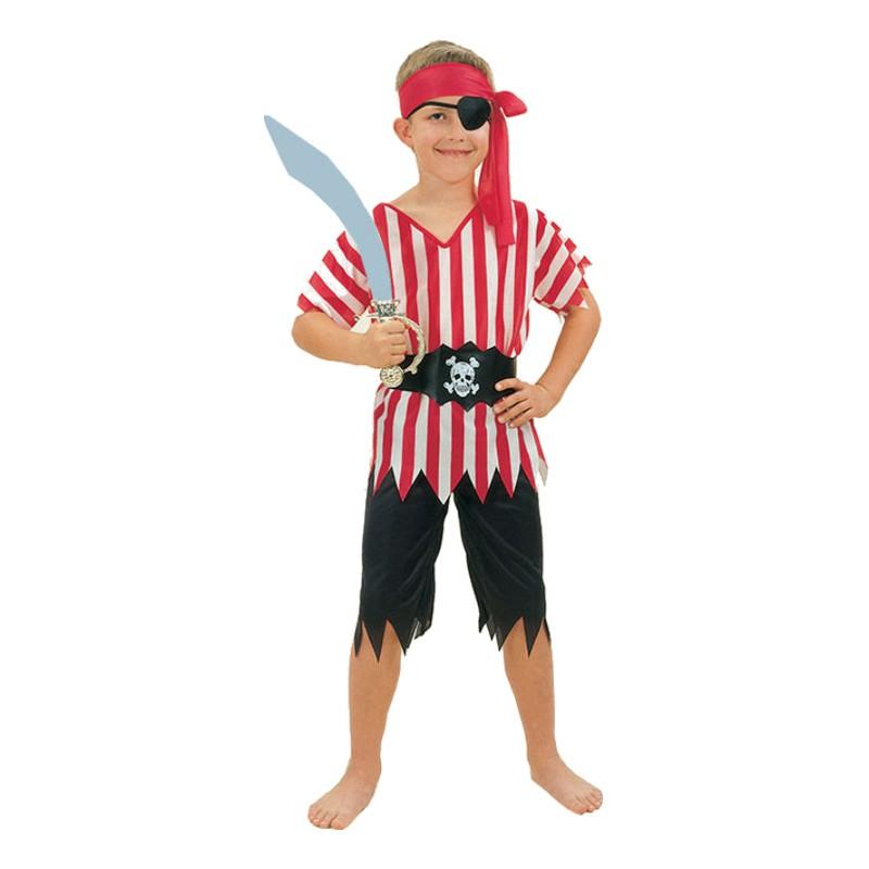 Piratpojke Randig Barn Maskeraddräkt - Small
