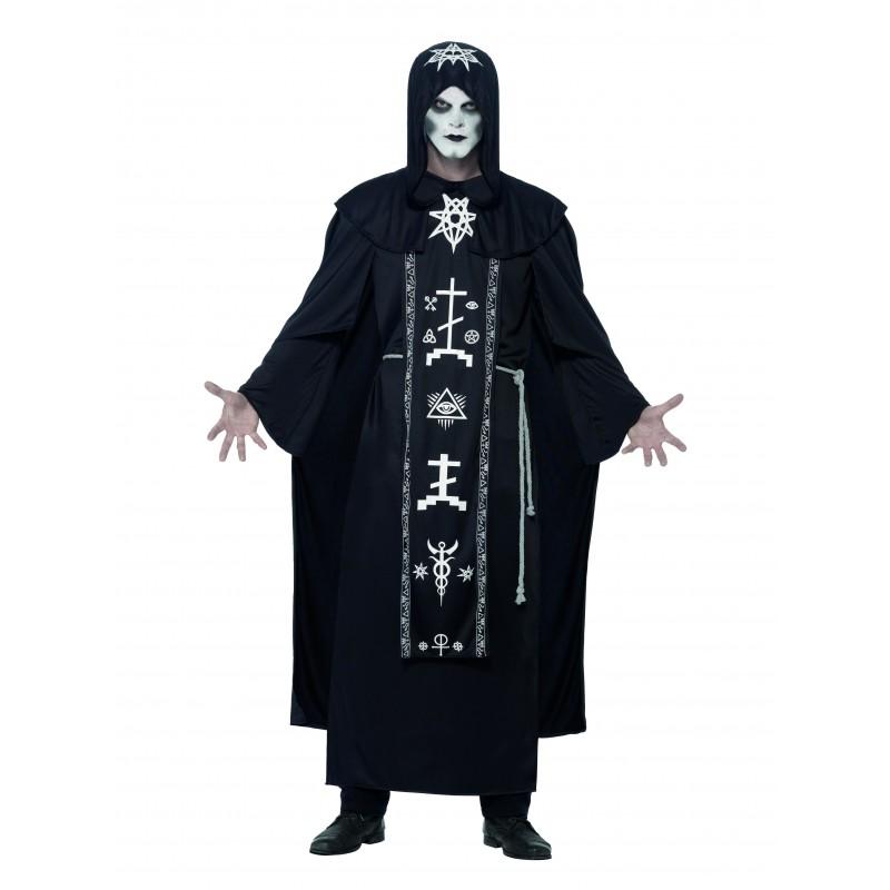 Svart Magi Utövare Maskeraddräkt