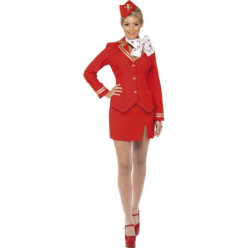 Flygvärdinna Röd Maskeraddräkt
