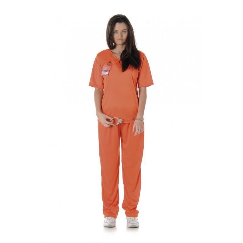 Kvinnlig Fånge Maskeraddräkt Orange