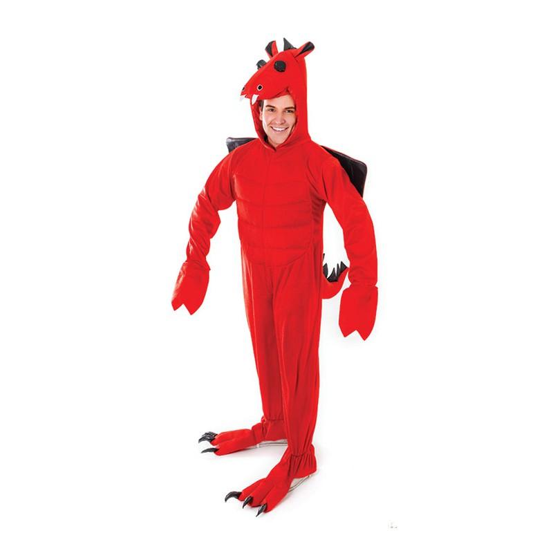 Röd Drake Maskeraddräkt - One size