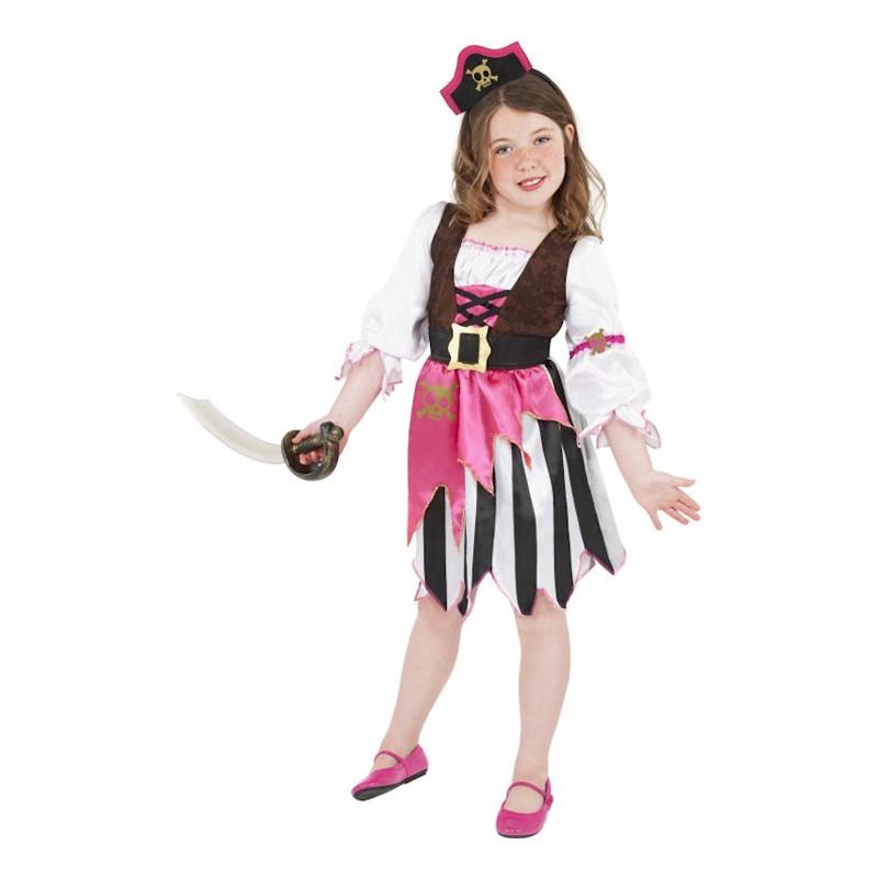 Rosa Pirat Barn Maskeraddräkt - Medium