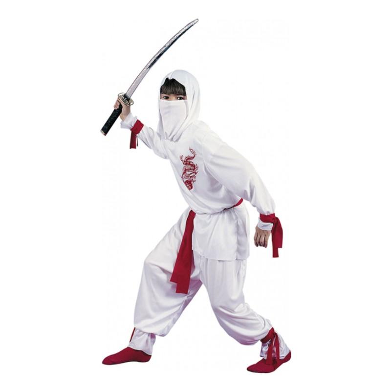 Vit Ninja Barn Maskeraddräkt - Small