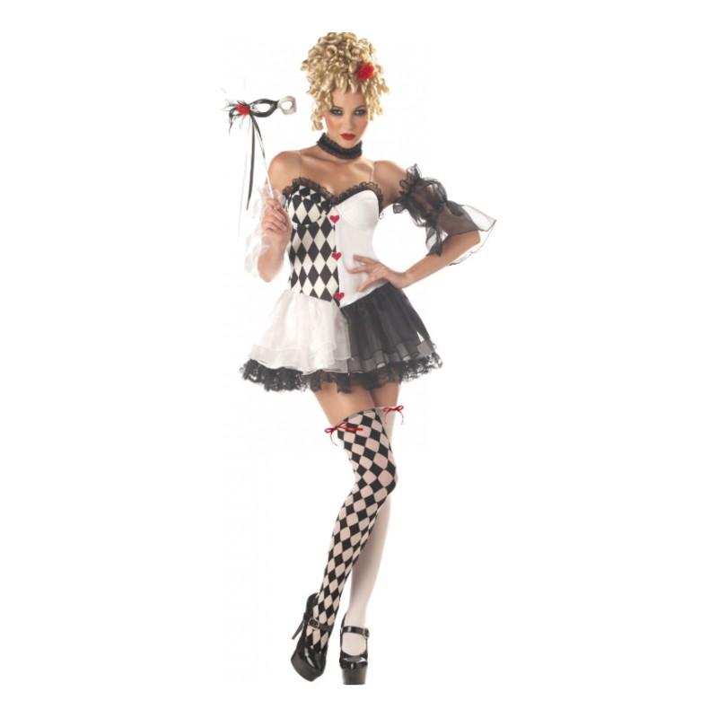 Harlequin Svart/Vit Clown Maskeraddräkt - Small