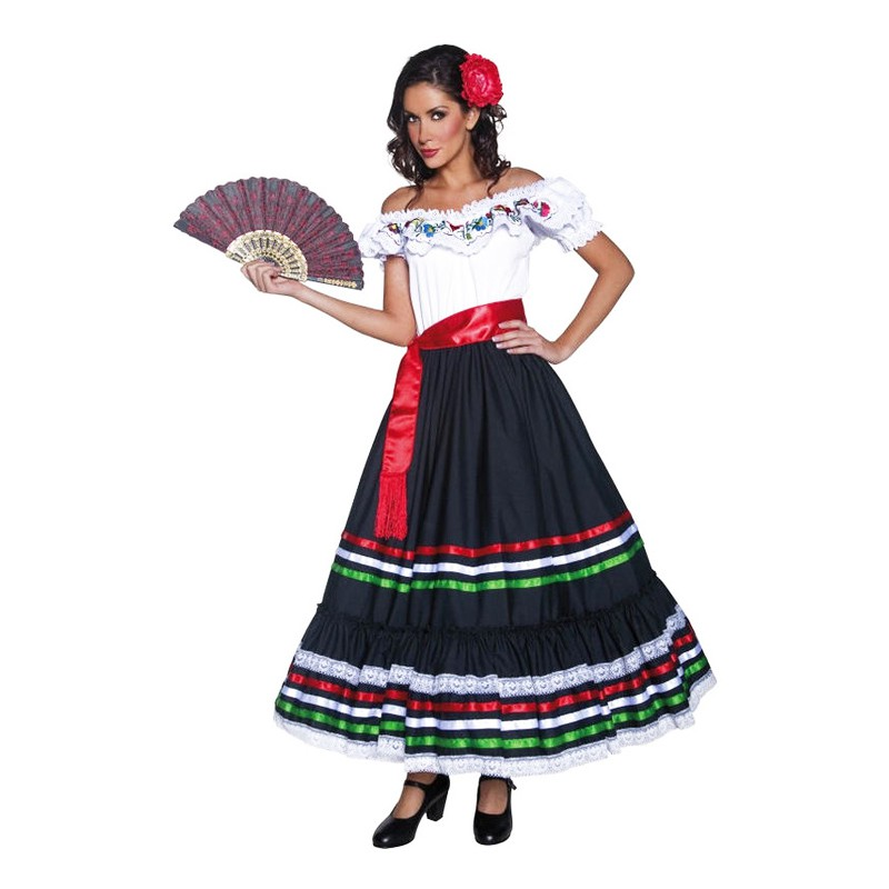 Traditionell Mexikansk Tjej Maskeraddräkt - Small