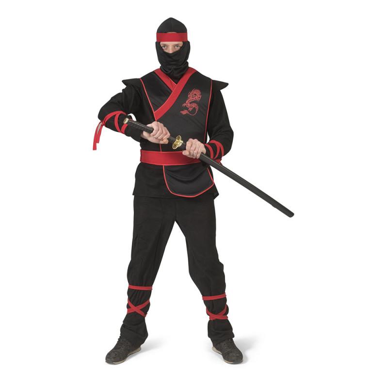 Ninja Svart/Röd Maskeraddräkt - Small