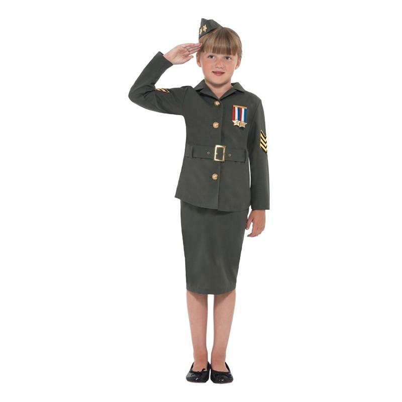 WW2 Arméflicka Barn Maskeraddräkt - Medium