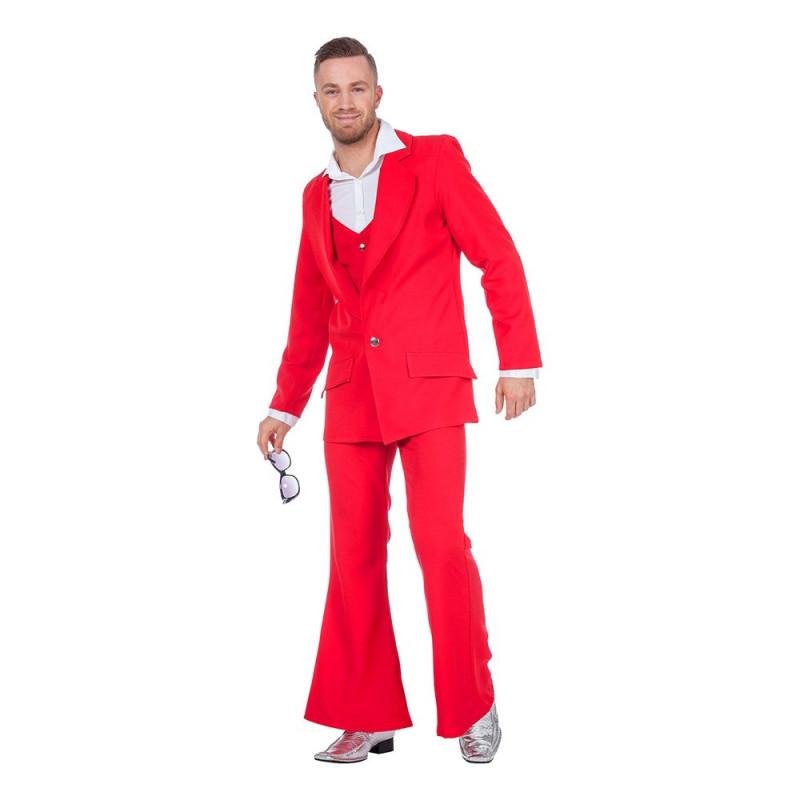 Disco Kostym Röd Maskeraddräkt - Small