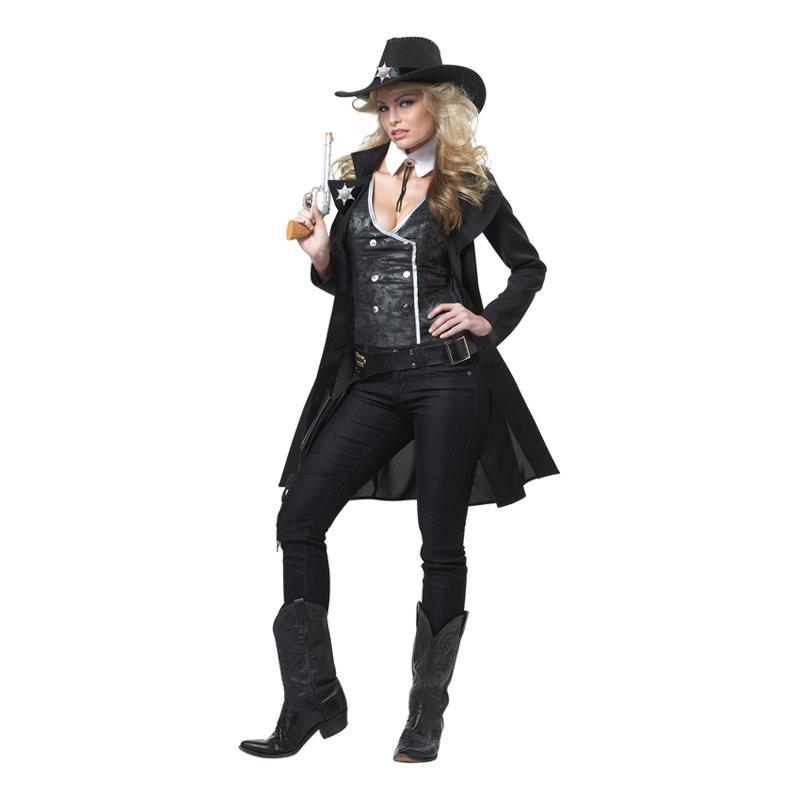 Kvinnlig Vilda Västern Sheriff Maskeraddräkt - Small