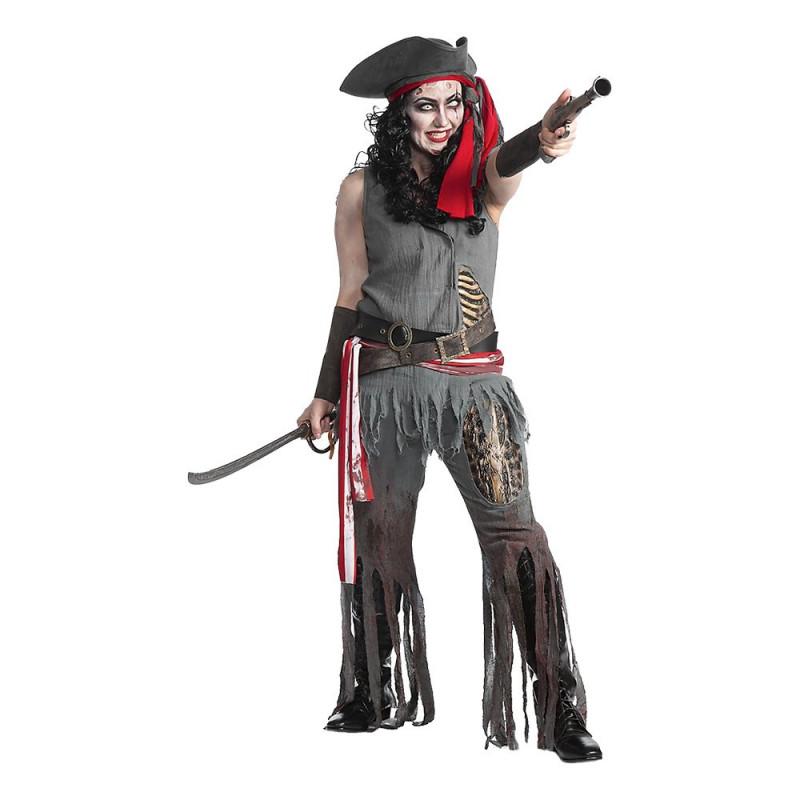 Zombie Pirat Dam Deluxe Maskeraddräkt - Small