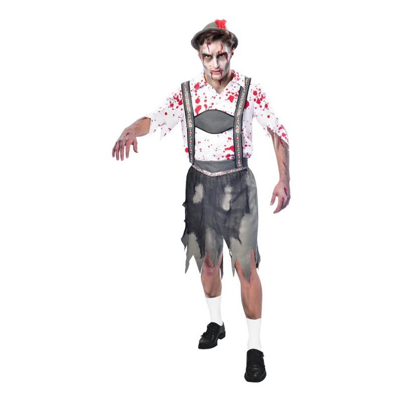 Oktoberfest Zombie Man Maskeraddräkt - X-Large